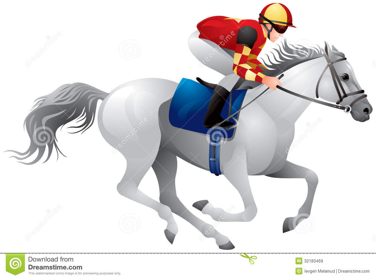 Derby White Horse Equestrian Sport Horse And Rider In Vector Variant