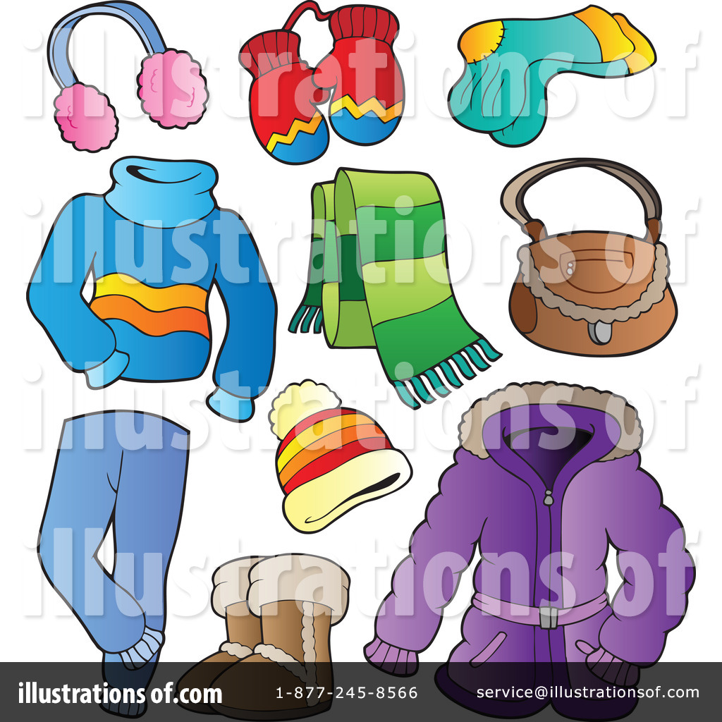 Royalty Free  Rf  Winter Clothes Clipart Illustration By Visekart