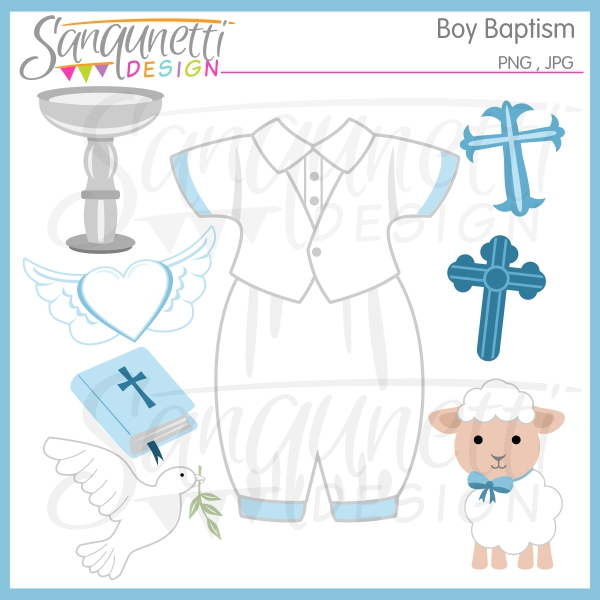 Baptism Boy Clipart  Sanqunetti Design  Quality Commercial Use Clipart