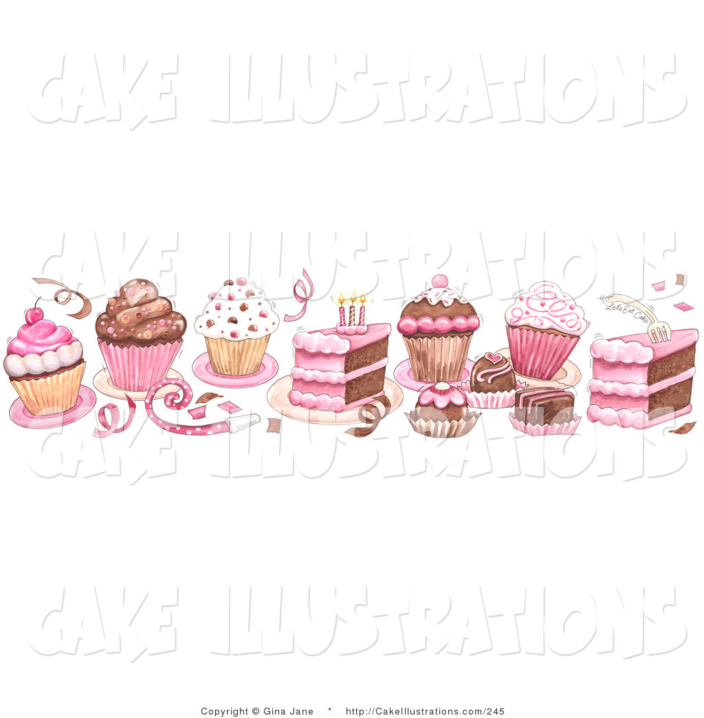Border Of Birthday Cake Cupcake Confetti And Candy Border On White