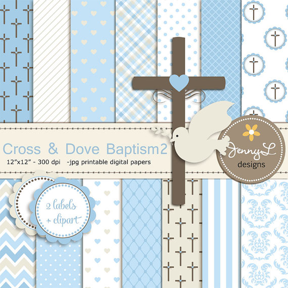 Boy Baptism Digital Papers Cross Dove Clipart First Communion Holy
