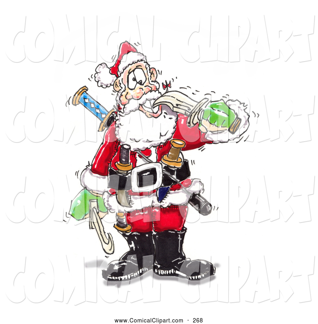 Comical Clip Art Of A White Crazy Santa Biting A Sword With His Teeth