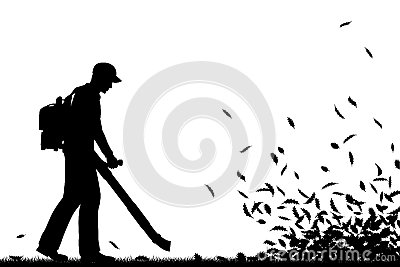 Editable Vector Silhouette Of A Man Using A Leaf Blower To Clear