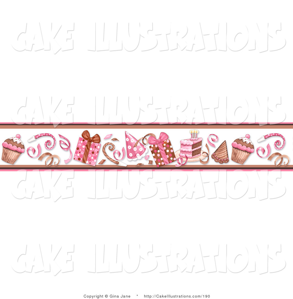 Hats And Birthday Cake On White Pink Border Of Frosted Cupcakes Border