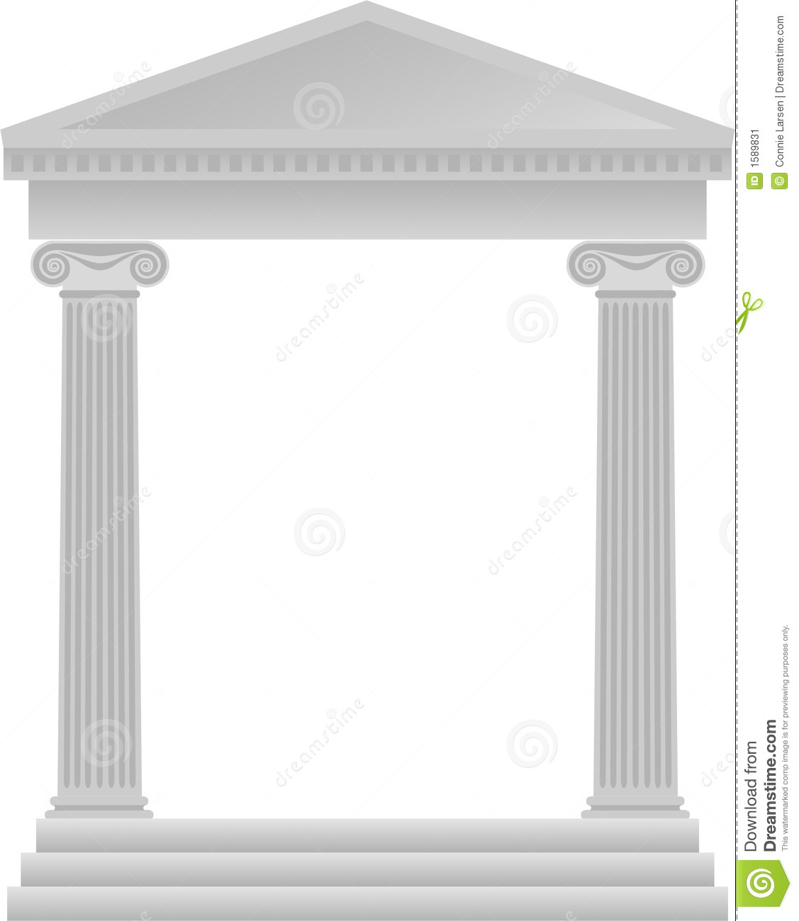Illustration Of Ionic Style Greek Architecture For Use As A Frame Or