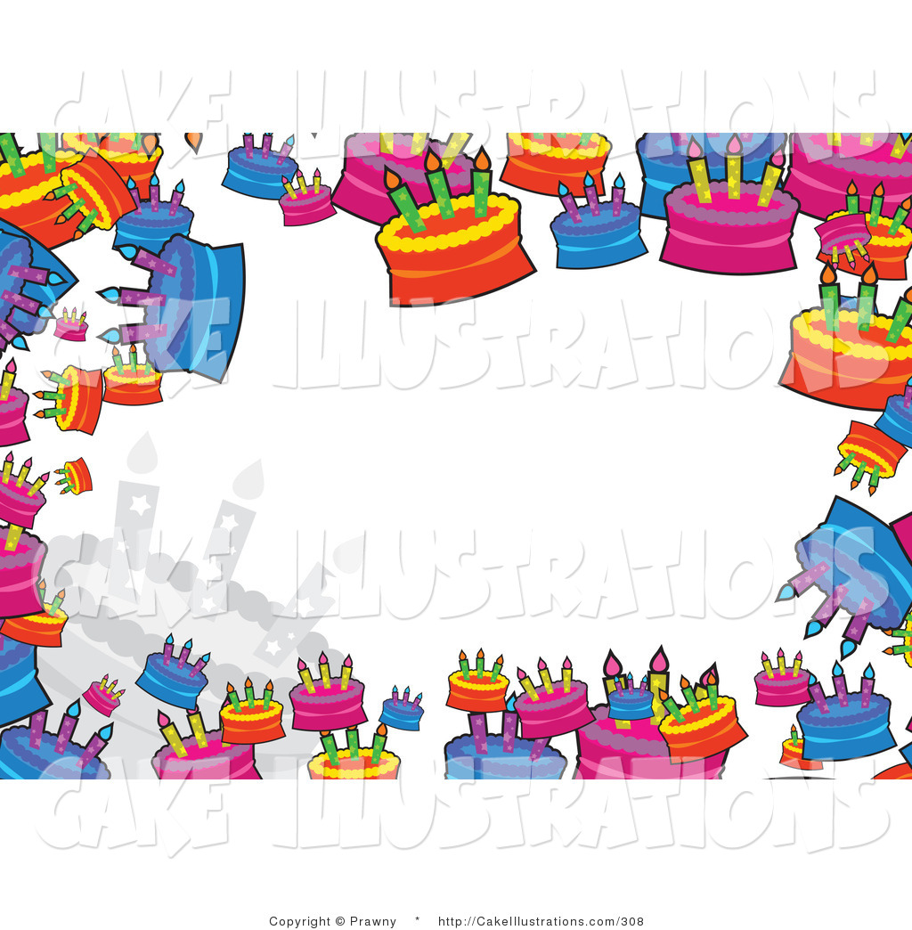 Illustration Vector Of A Colorful Stationery Border Of Birthday Cakes
