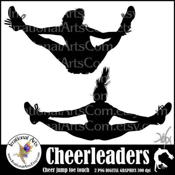 Instant Download Cheerleader Jump Toe Touch Silhouettes Digital Graph