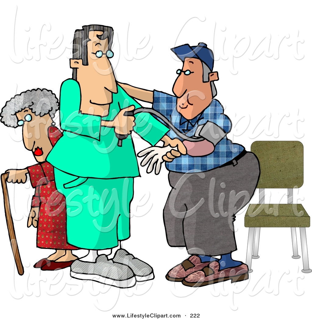 Lifestyle Clipart Of A Helpful Male Nurse Taking A Man S Blood