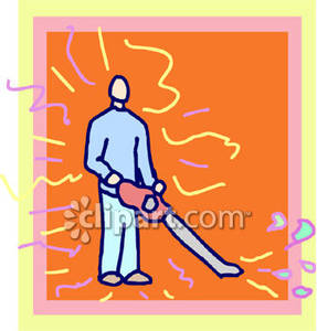 Man Holding A Leaf Blower   Royalty Free Clipart Picture
