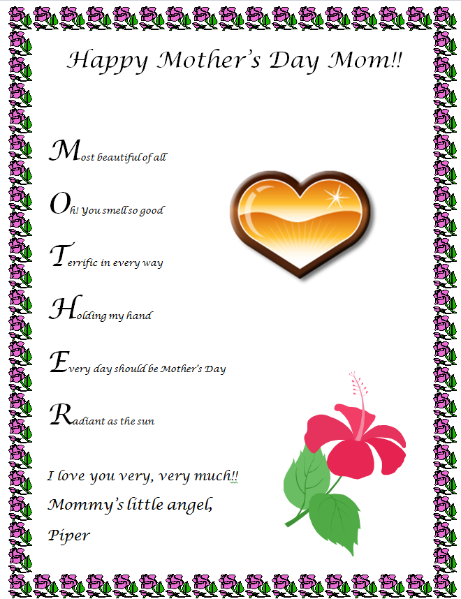 Mother's Day Poem Clipart - Clipart Kid
