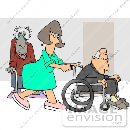 Nurse In A Hospital Pushing A Senior Man In A Wheelchair An Old Lady