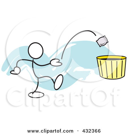 Rf  Clipart Illustration Of A Stickler Man Tossing A Bag Into A Basket