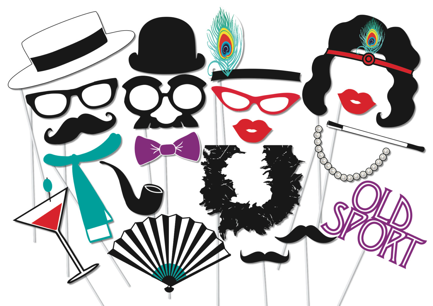 Roaring 20s Clipart Roaring 20 S Photobooth Party Props Set 21 By
