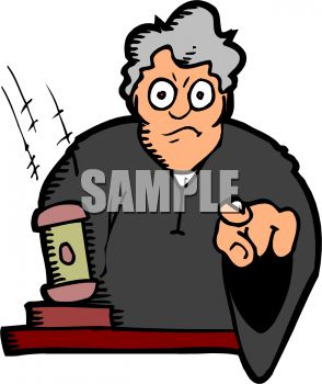Stern Cartoon Judge Pointing At You   Royalty Free Clip Art Picture