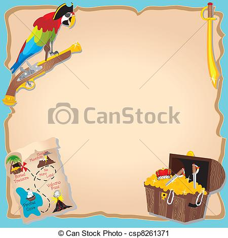 Vector Clip Art Of Pirate Birthday Party And Treasure Hunt Invitation