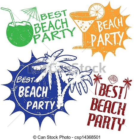 Vector Clipart Of Set Of Beach Party Stamps   Set Of Beach Party