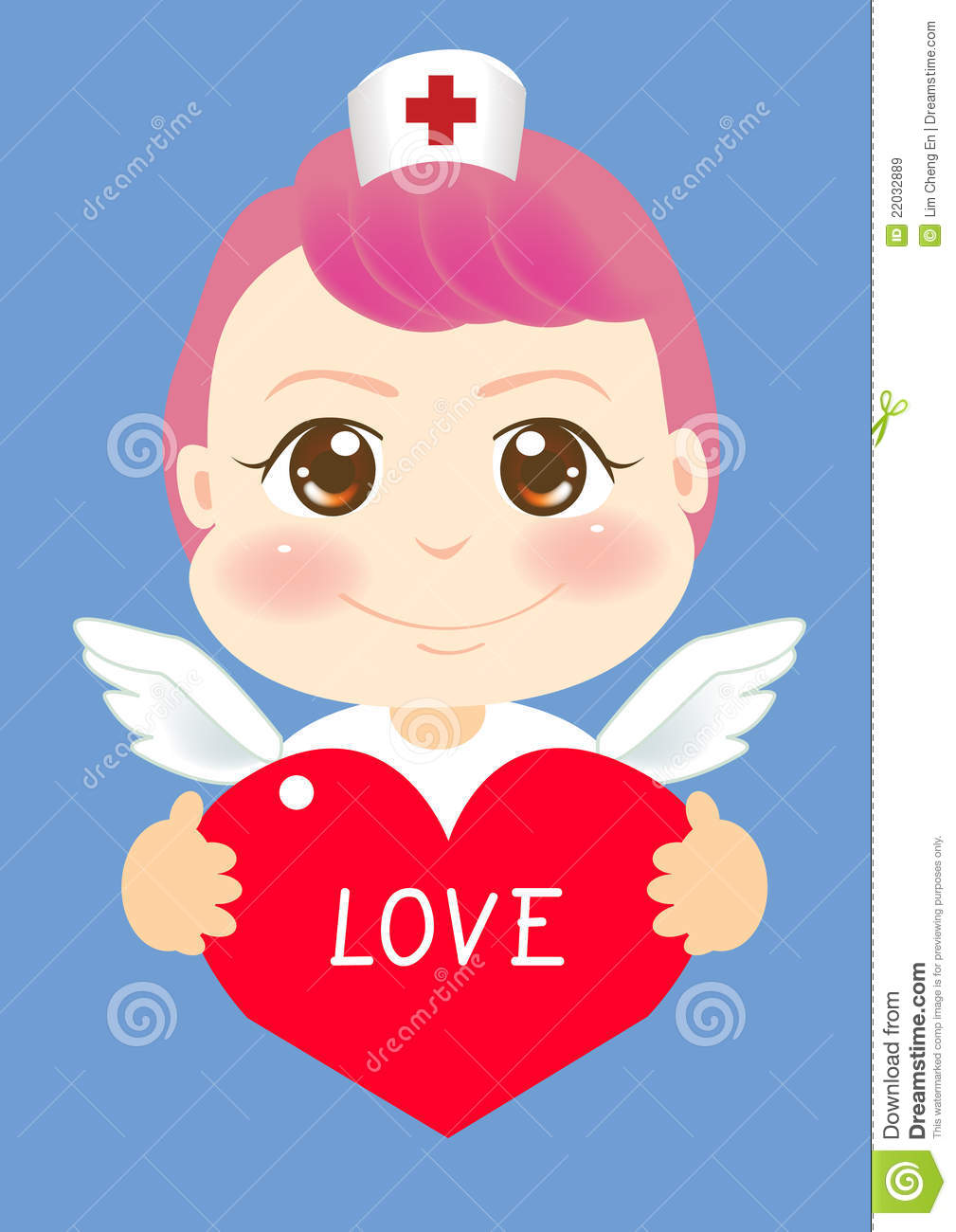 Angel Nurse Holding A Red Heart Shape With The Words Love