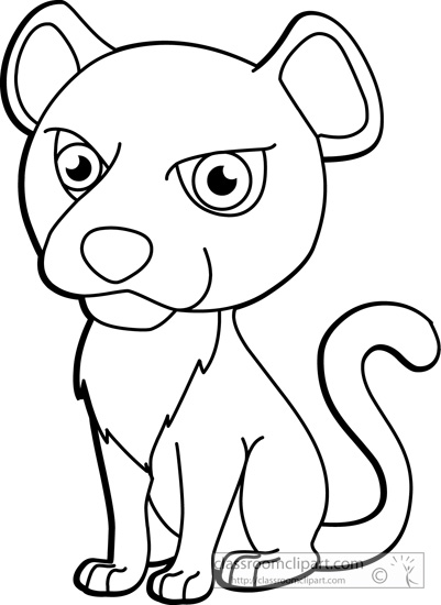Animals   Cougar 02 Outline 116   Classroom Clipart