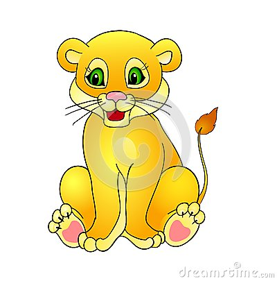 Animated Baby Cougar Cartoon Lionwith Isolation On