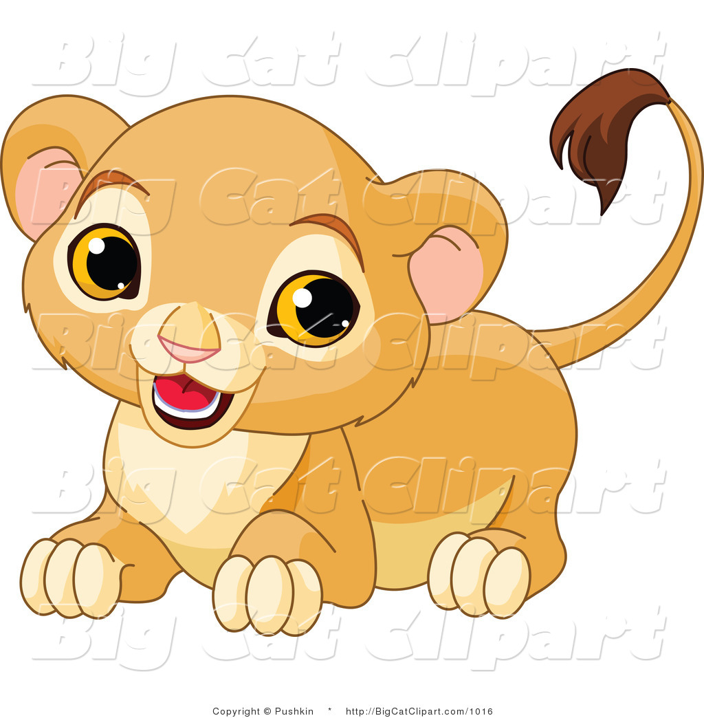 Big Cat Clipart Of A Playful Lion Cub By Pushkin    1016