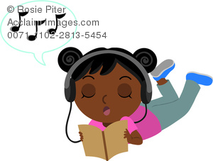 Black African American Teen Girl Listening To Music And Reading A Book