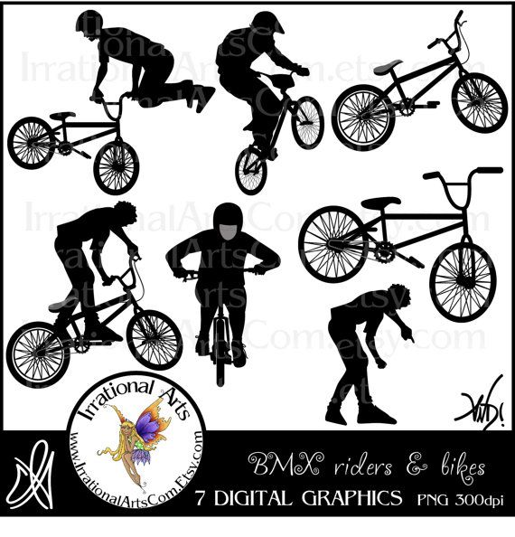 Bmx Rider Silhouettes Digital Graphics Clip Art By Irrationalarts  3