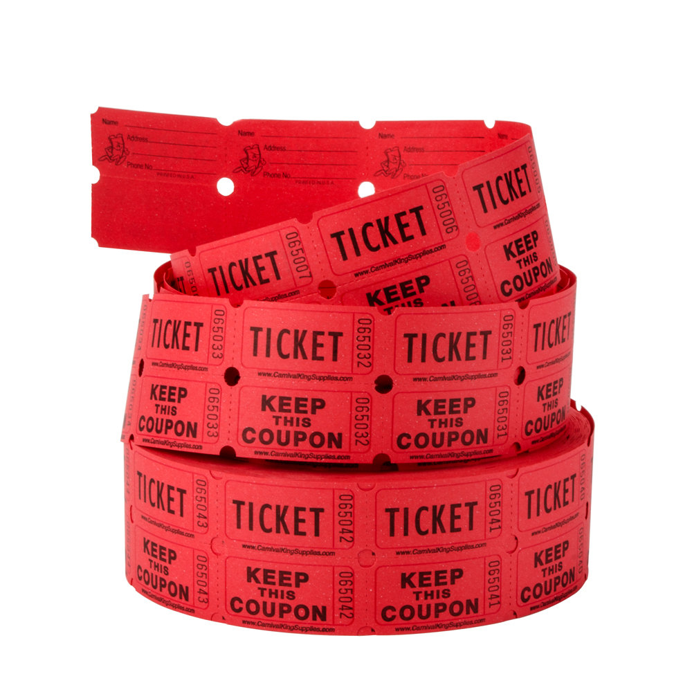 Carnival King Red 2 Part Raffle Tickets   2000   Roll