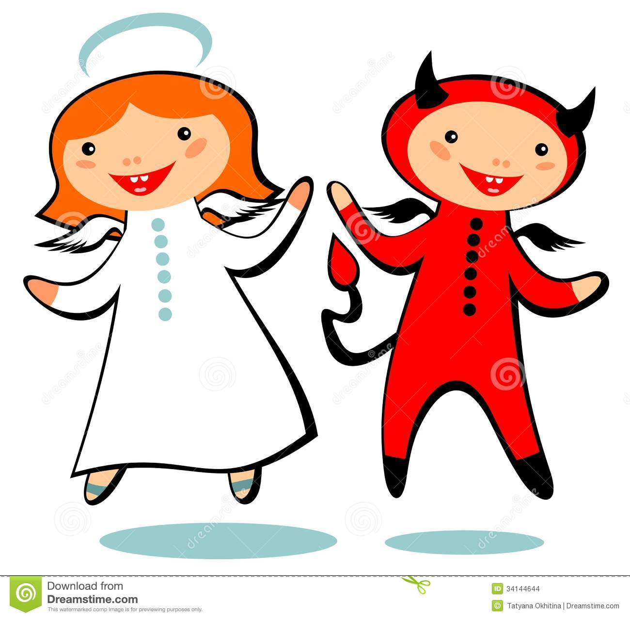 Cartoon Angel And Devil Isolated On A White Background