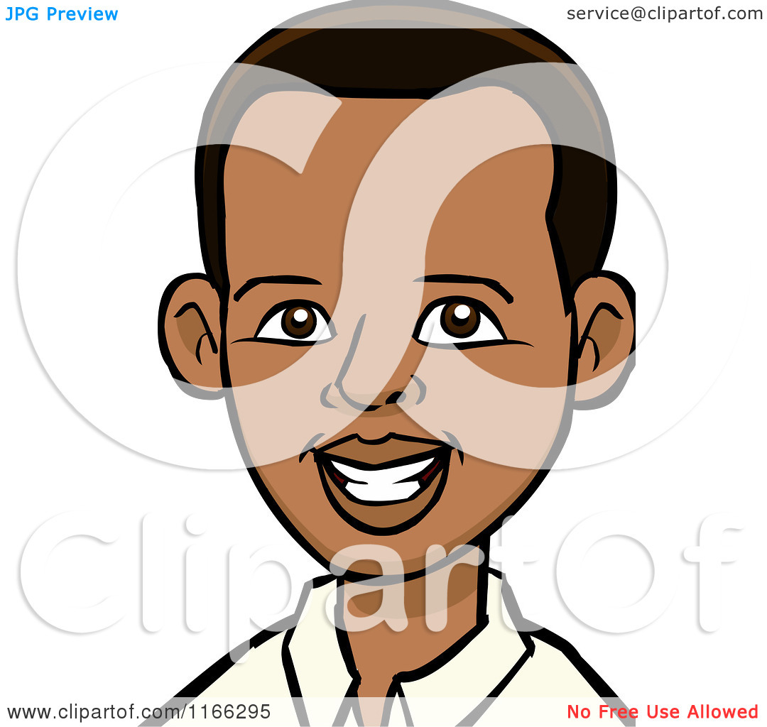 Cartoon Of A Young Black Man Avatar   Royalty Free Vector Clipart By