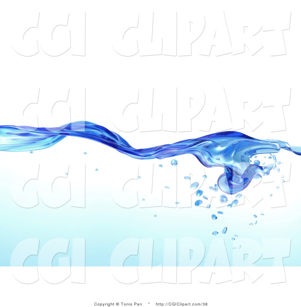 Clip Art Of A Flowing Clear Blue Purified Blue Water Pattern With Air