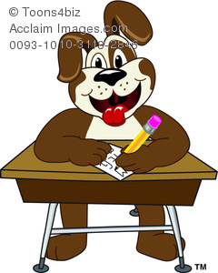 Clipart Cartoon Puppy Sitting At A Desk And Writing   Acclaim Stock