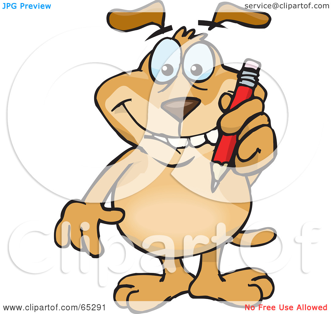 Clipart Illustration Of A Sparkey Dog Biting His Lip And Writing With