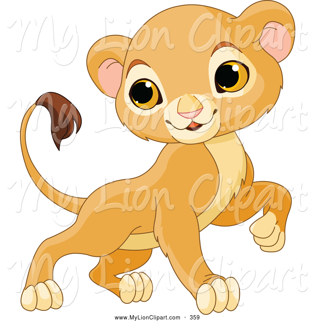 Clipart Of A Cute And Brave Baby Lion By Pushkin    359