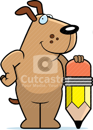 Dog Pencil Stock Vector Clipart A Happy Cartoon Dog With A Pencil  By