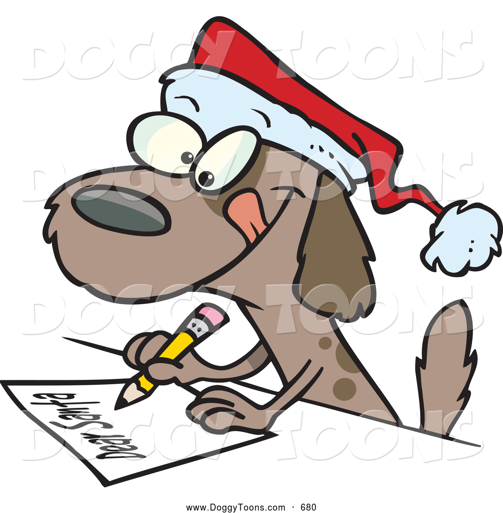 Dog Writing A Dear Santa Letter On Christmas