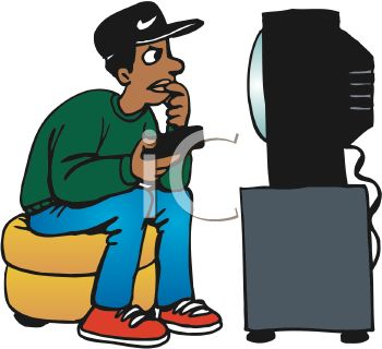 People Watching Tv Clipart