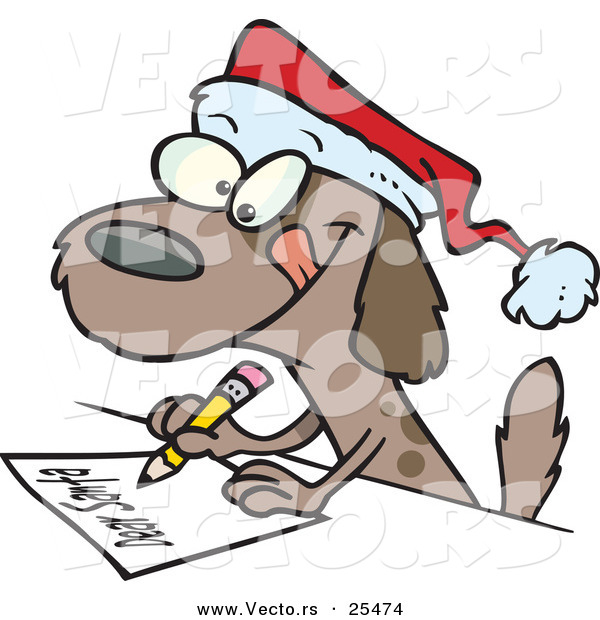 File Name   Cartoon Vector Of A Brown Dog Writing Letter To Santa By