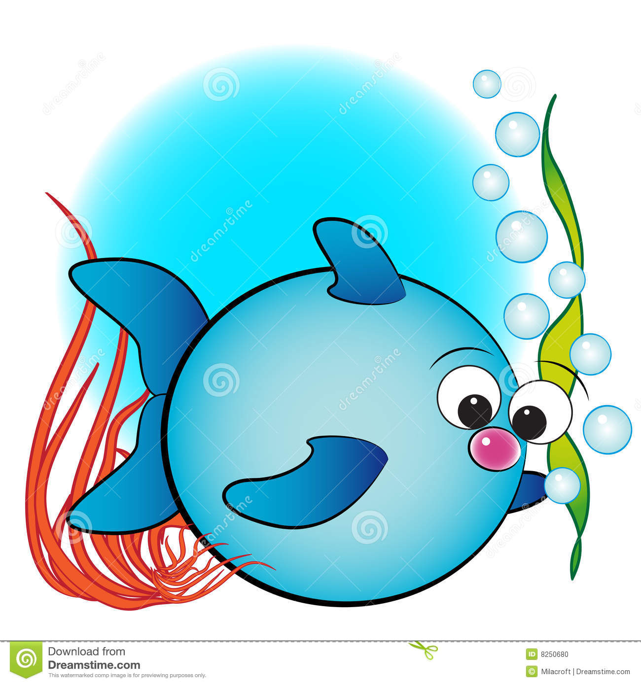 Fish Air Bubbles And Anemone   Kids Illustration Stock Photo   Image