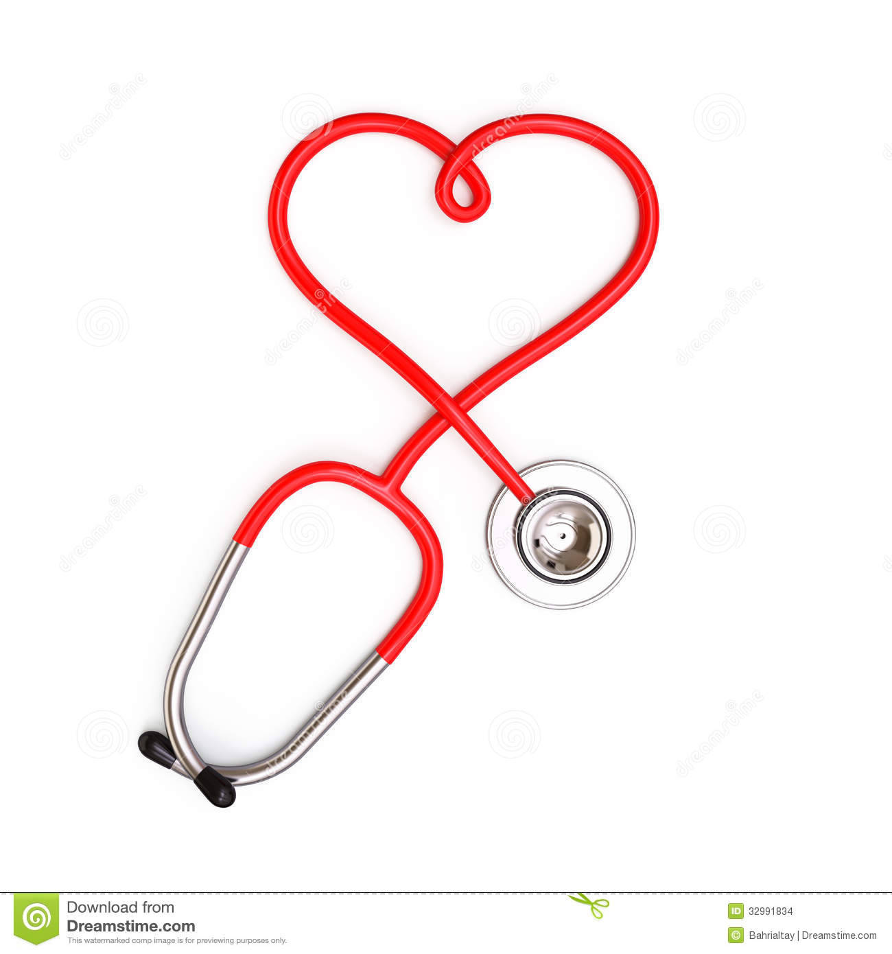 Heart Shape From Stethoscope On White Background  3d Render