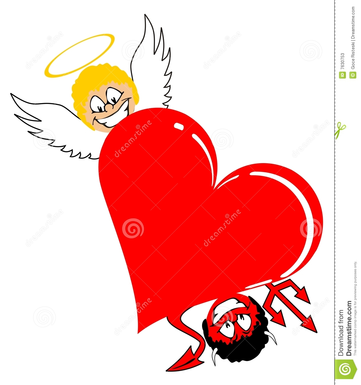 More Similar Stock Images Of   Heart With Angel And Devil
