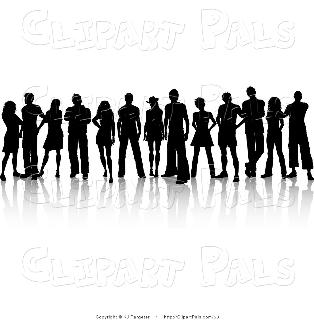 People Silhouetted In Black Standing Under A Large Tree Black Set Of