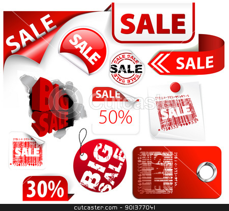 Red Discount Tickets Labels Stamps Stock Vector Clipart Set Of Red