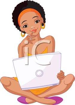 Royalty Free Clip Art Image  African American Teenage Girl With Laptop