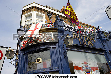 St George Flags Flying Outside The British Lion Pub On Hackney Road