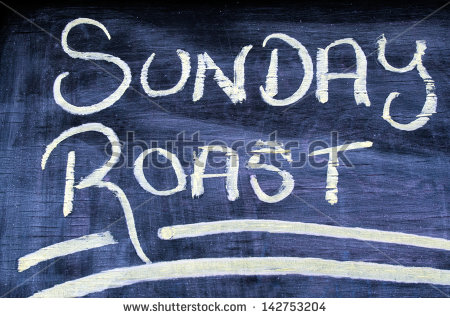 The Wording Text Of Sunday Roast On A Chalkboard  Concept Photo Of