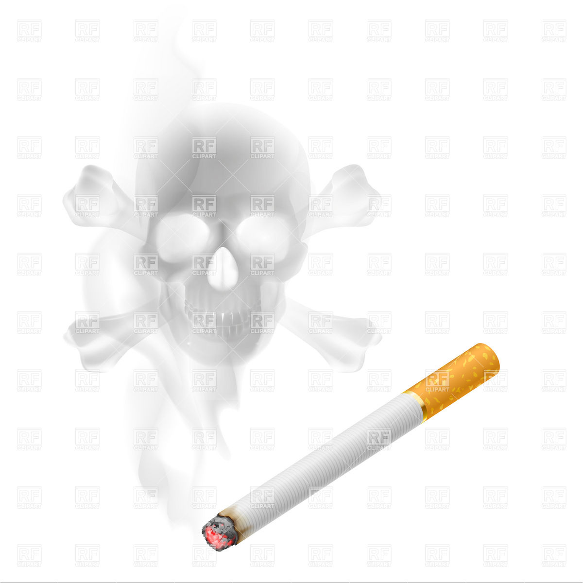 Cigarette And Skull Of Smoke Download Royalty Free Vector Clipart