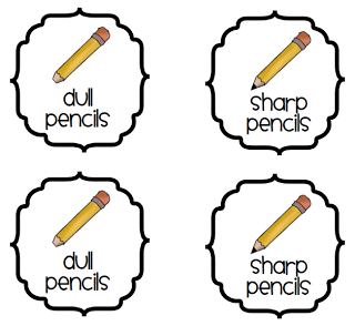 Classroom Supplies  Sharp   Dull Pencils Freebie