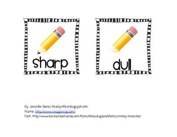 Free Dull Or Sharp Pencil Basket Labels   2nd Grade   Pinterest