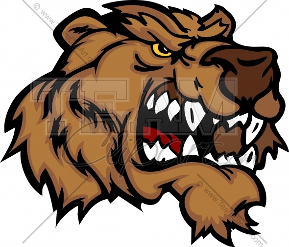 Grizzly Bear Mascot Head Vector Cartoon   Team Clipart  Com   Quality