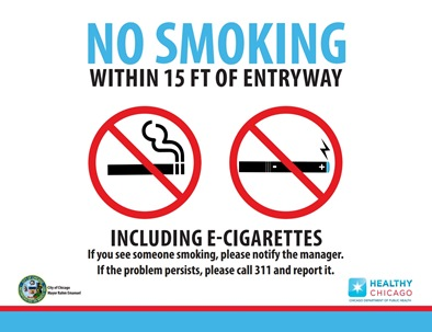 No Smoking Sign From Chicago That Includes Electronic Cigarettes
